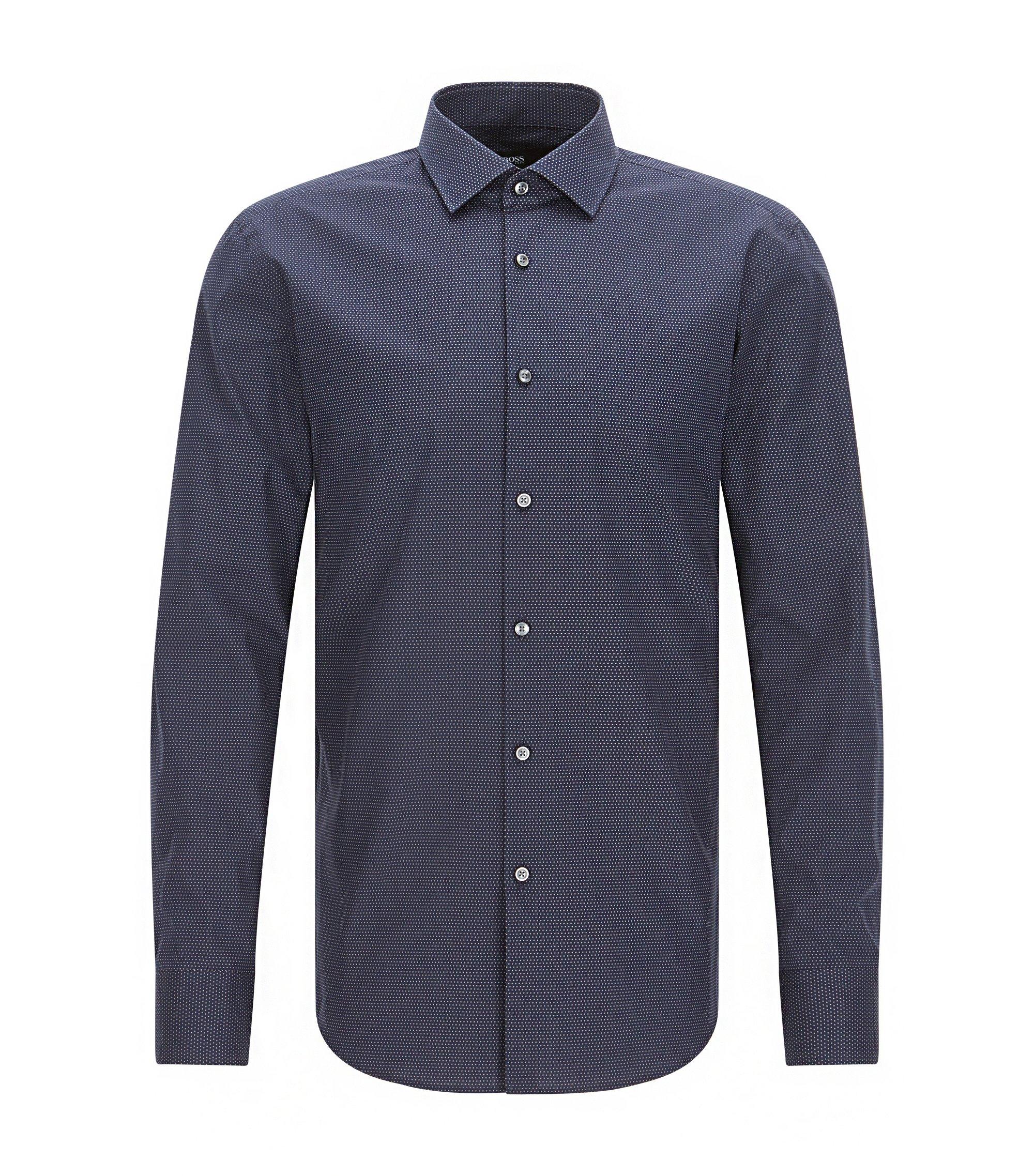 Slim-fit cotton poplin shirt with polka dot motif, Dark Blue