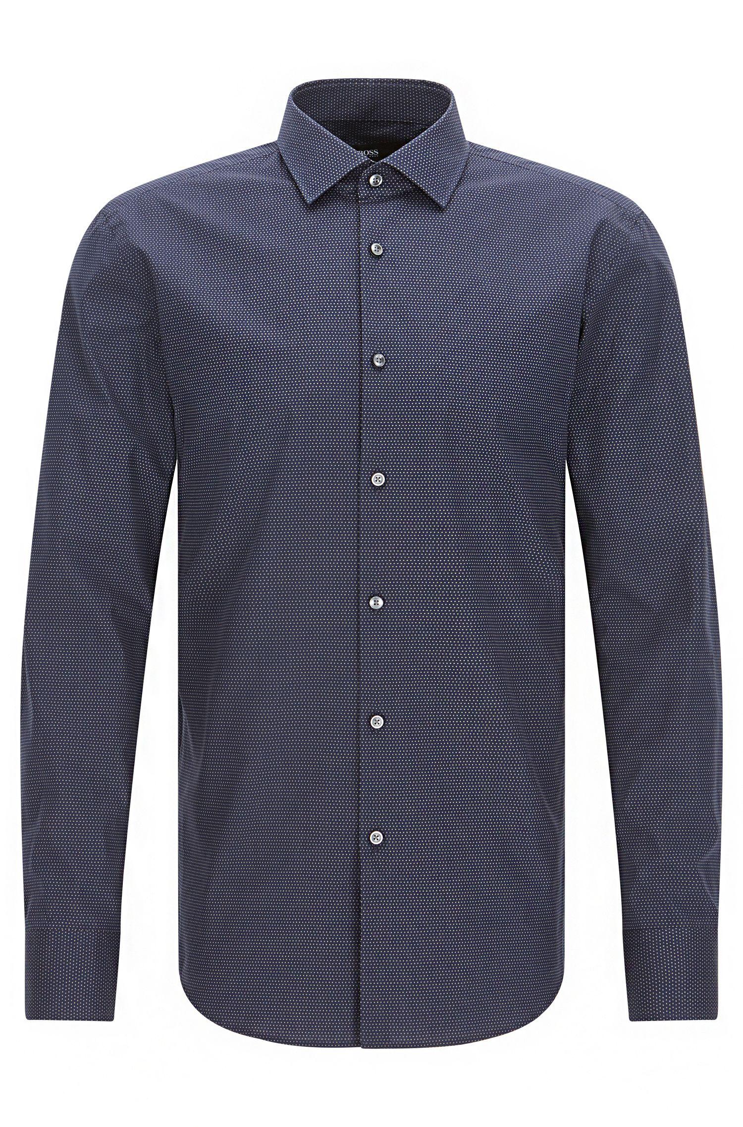 Slim-fit cotton poplin shirt with polka dot motif