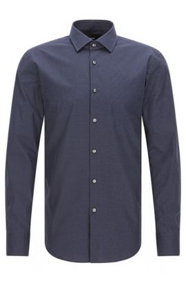 Slim-fit cotton poplin shirt with polka dot motif, Dark Blue