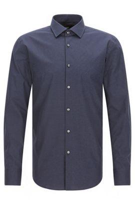 Gepunktetes Slim-Fit Hemd aus Baumwolle, Dunkelblau