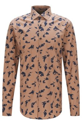 Slim-fit cotton poplin shirt with abstract print, Beige