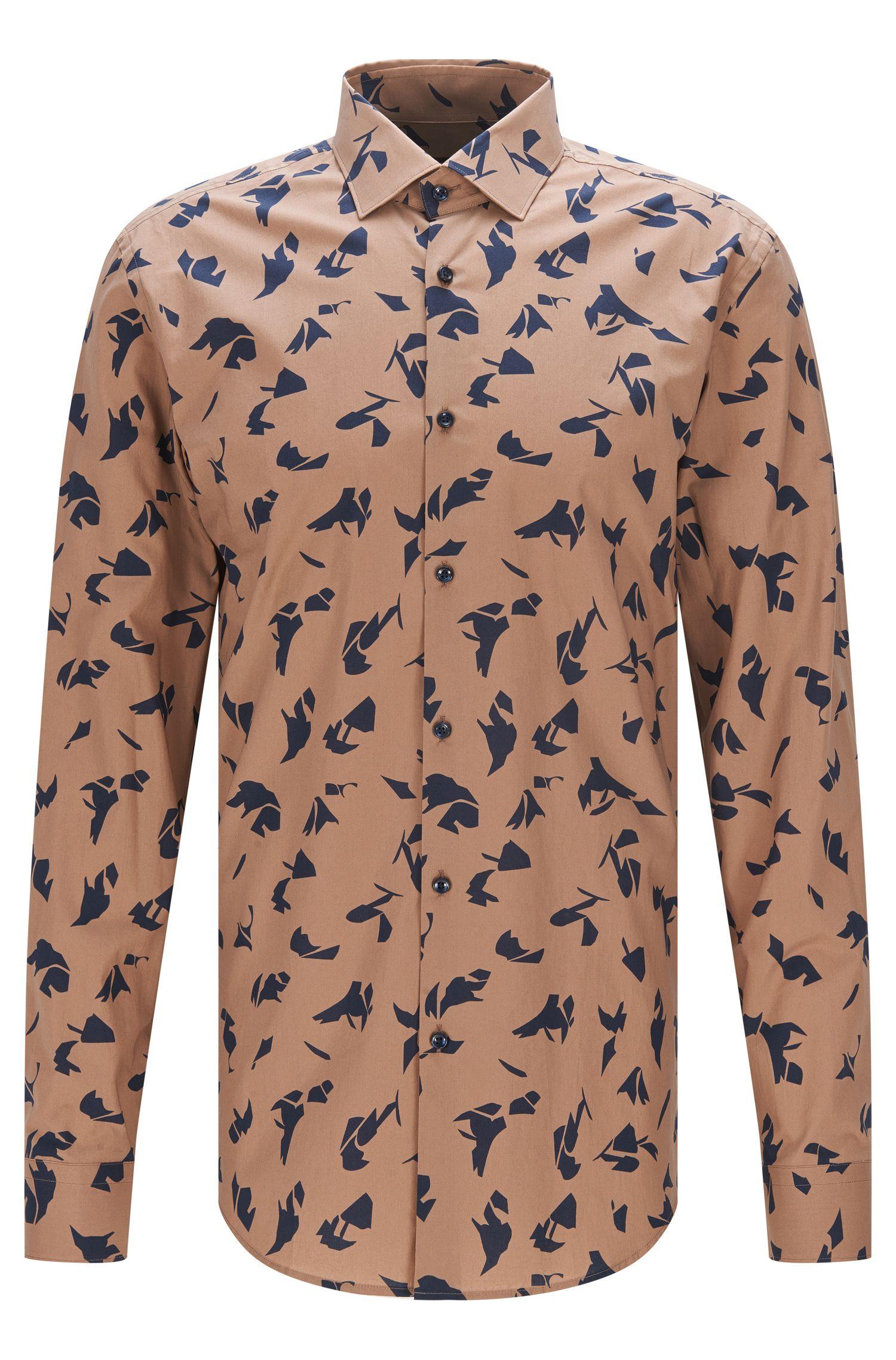 Slim-fit overhemd van katoenen popeline met abstracte print