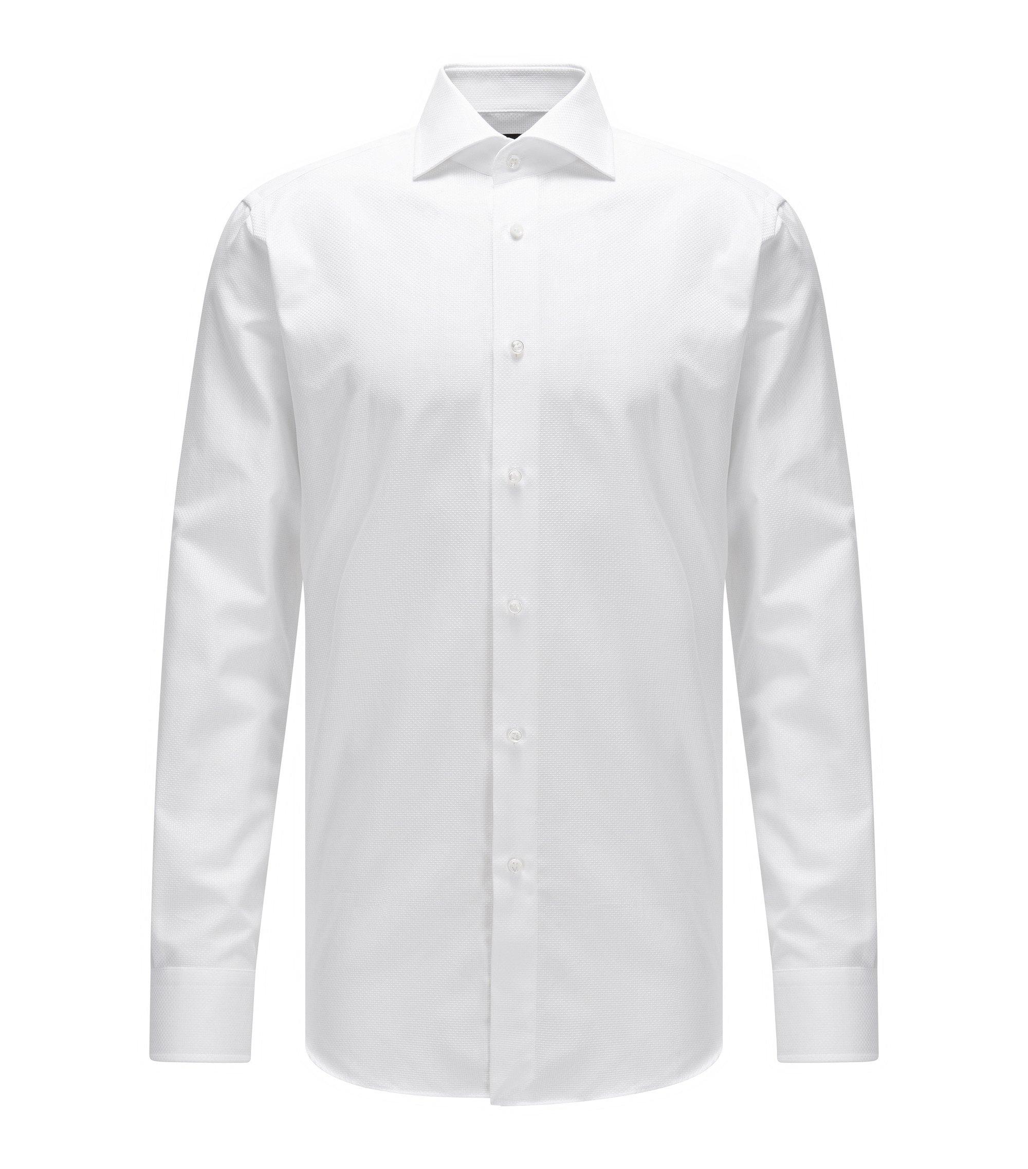 Regular-Fit Hemd aus strukturierter Baumwolle mit Perlmuttknöpfen, Weiß