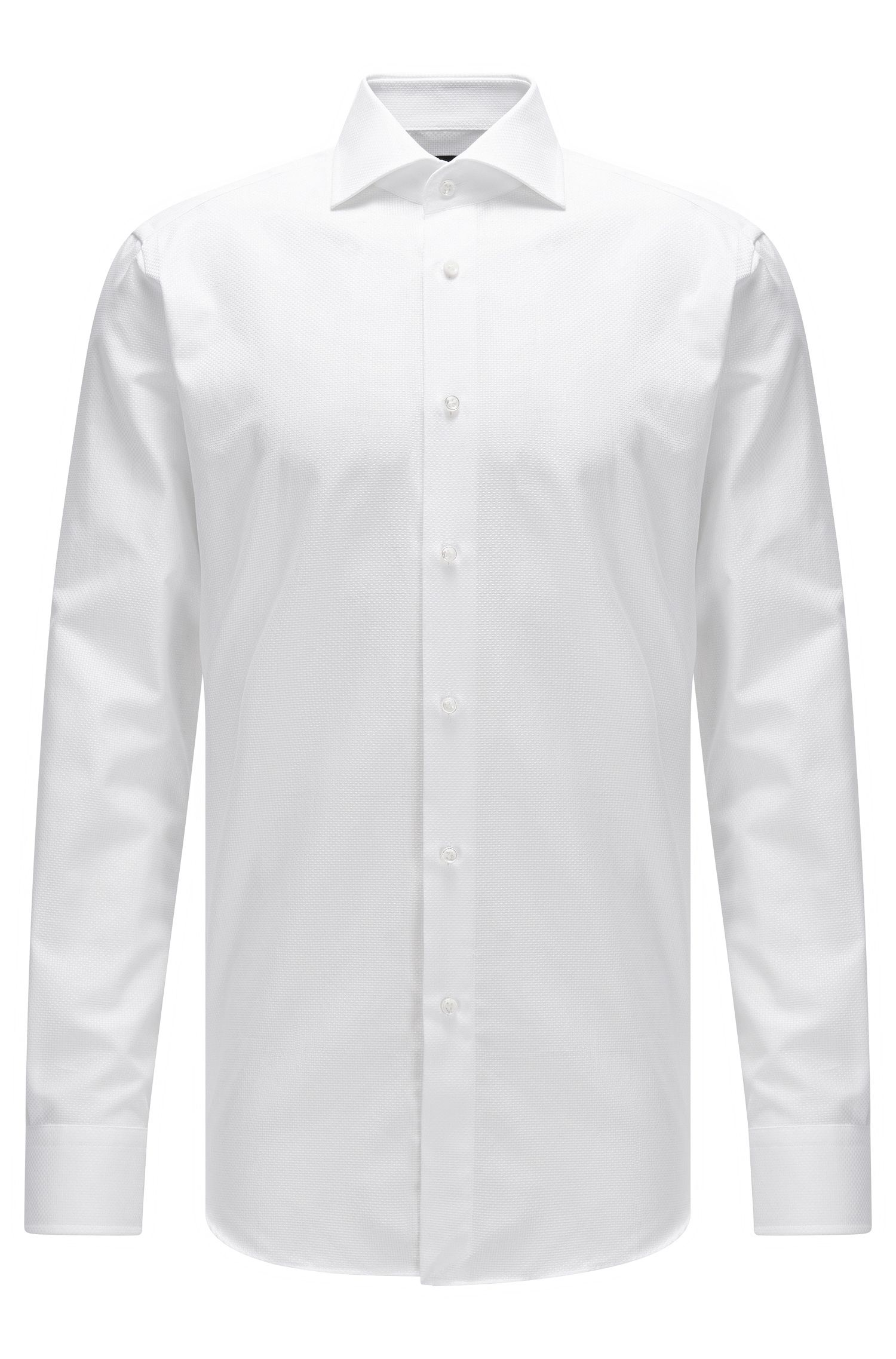 Regular-fit structured cotton shirt with mother-of-pearl buttons