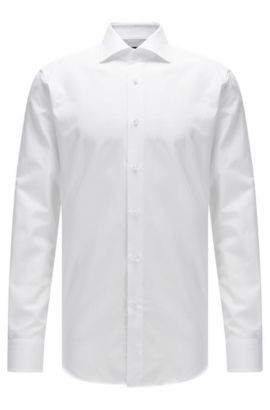 Regular-fit structured cotton shirt with mother-of-pearl buttons, White