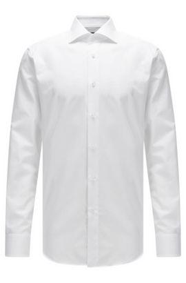 Regular-fit overhemd van gestructureerde katoen met parelmoerknopen, Wit
