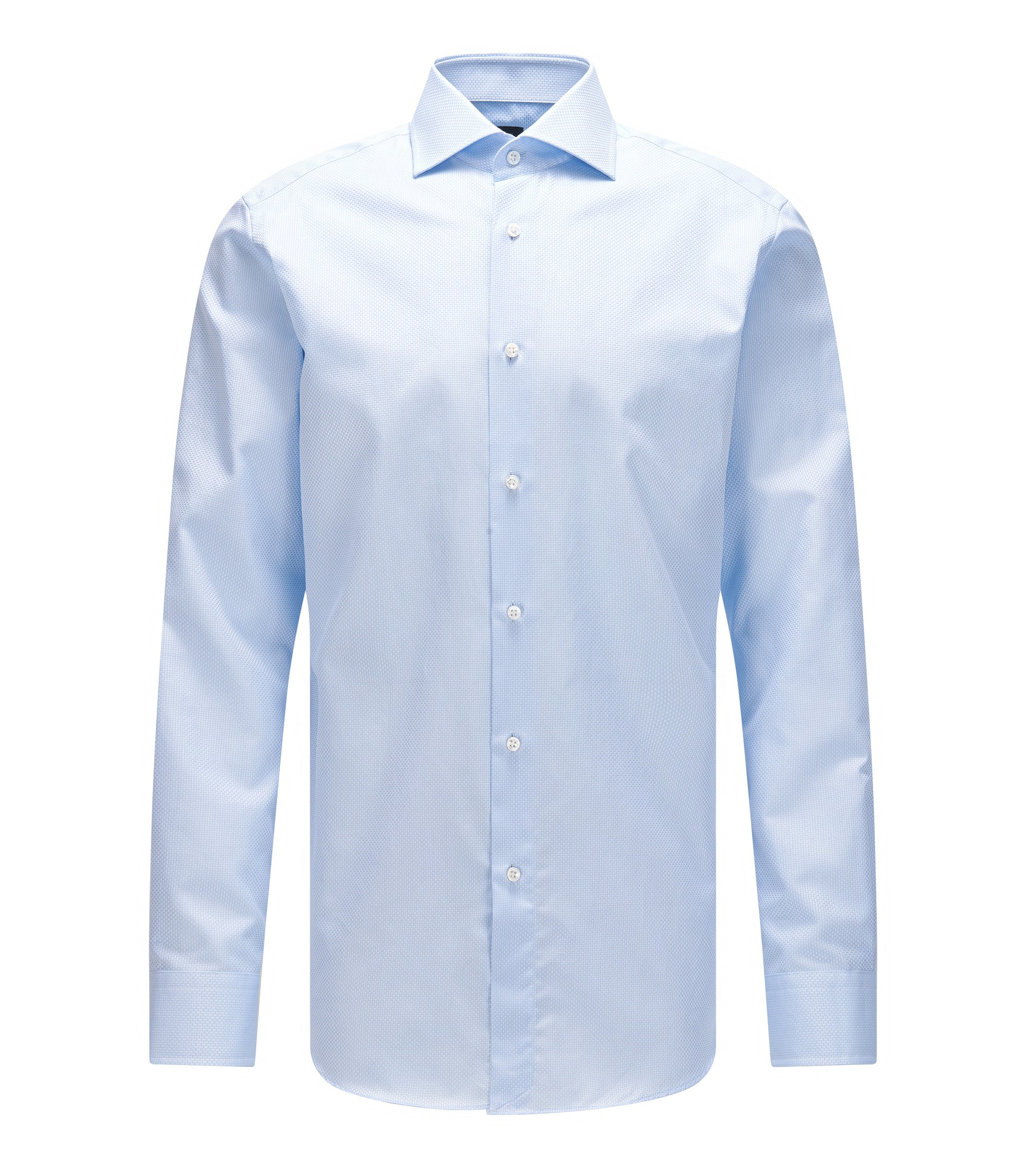 Regular-fit structured cotton shirt with mother-of-pearl buttons, Light Blue