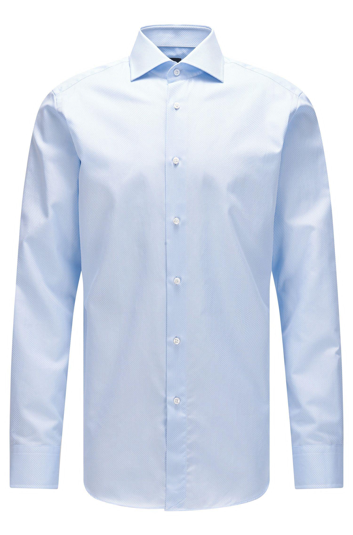 Camicia regular fit in cotone strutturato con bottoni in madreperla