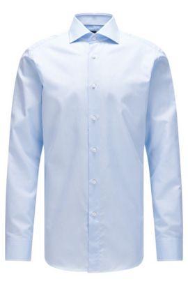 Camicia regular fit in cotone strutturato con bottoni in madreperla, Celeste