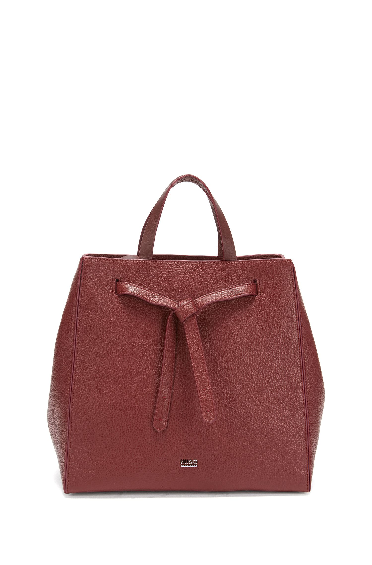 Leather tote bag with modern drawstring closure
