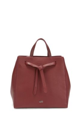 Leather tote bag with modern drawstring closure , Dark Red