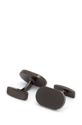 Black-plated oval cufflinks with micro pattern, Black