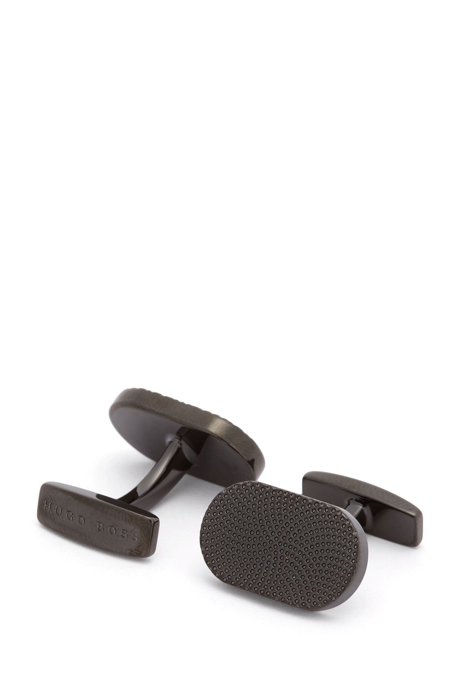 Black-plated oval cufflinks with micro pattern