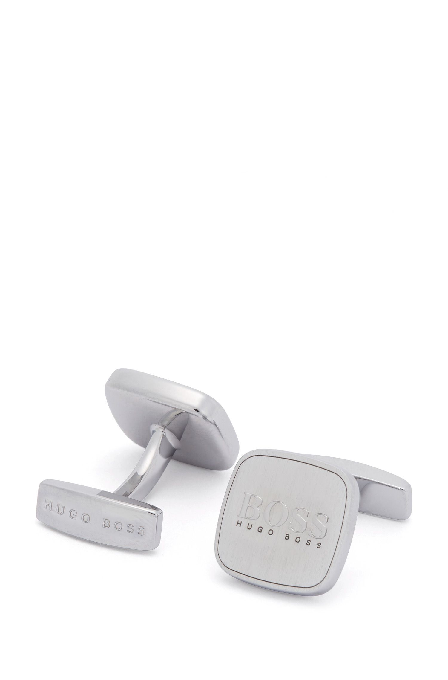 Square cufflinks with brushed metal logo insert