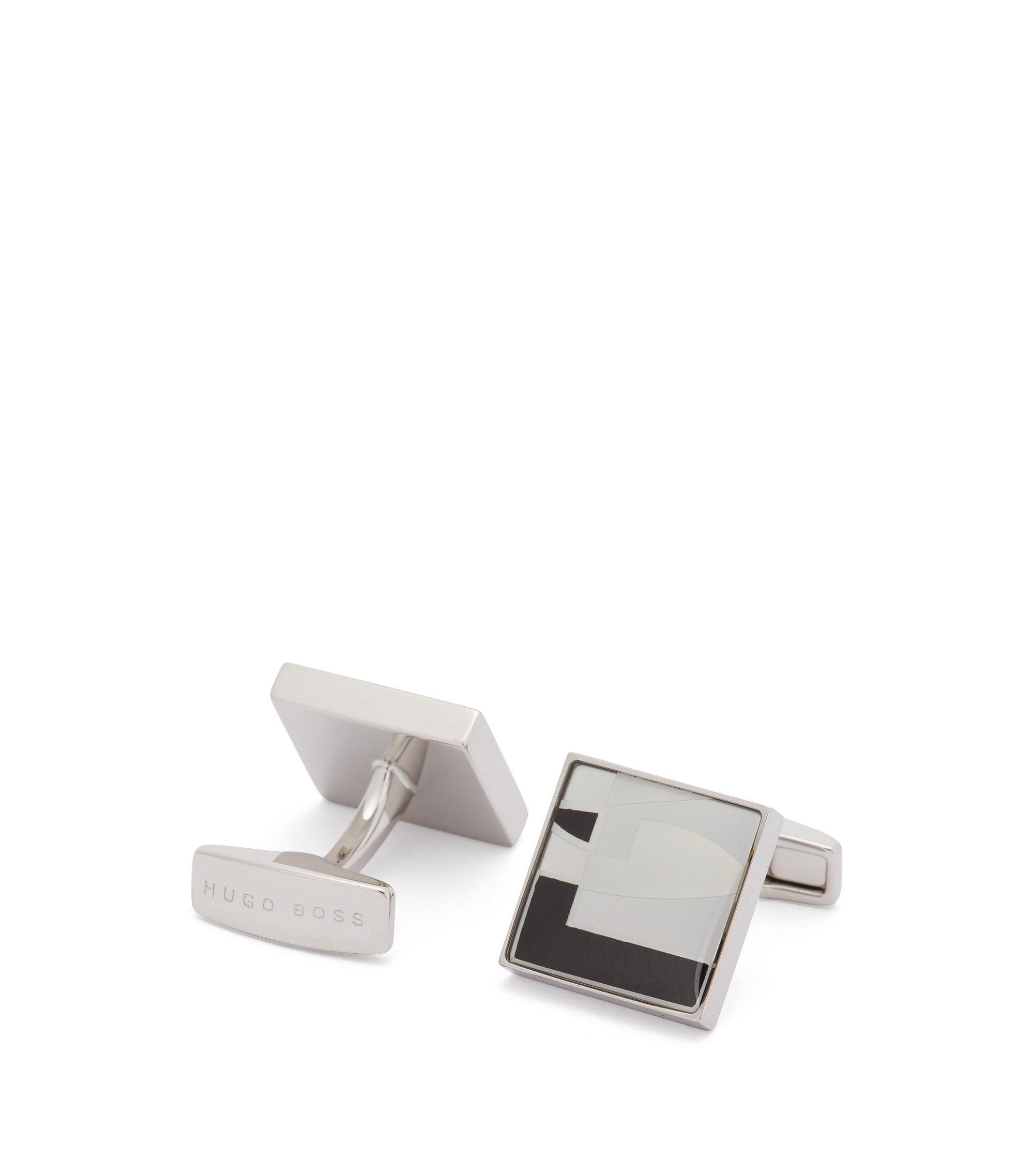 Square cufflinks with graphic pattern, Black