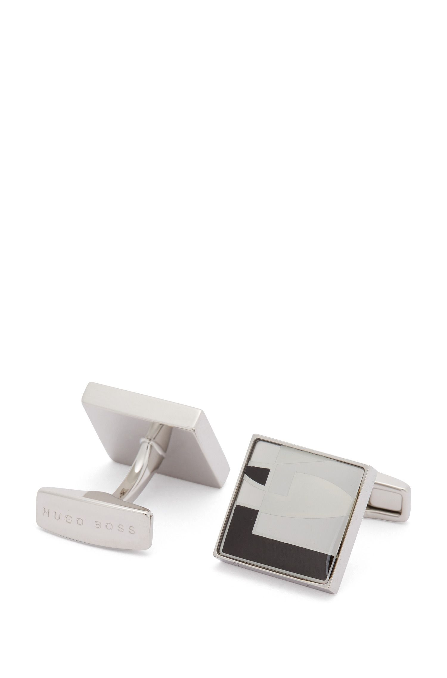 Square cufflinks with graphic pattern