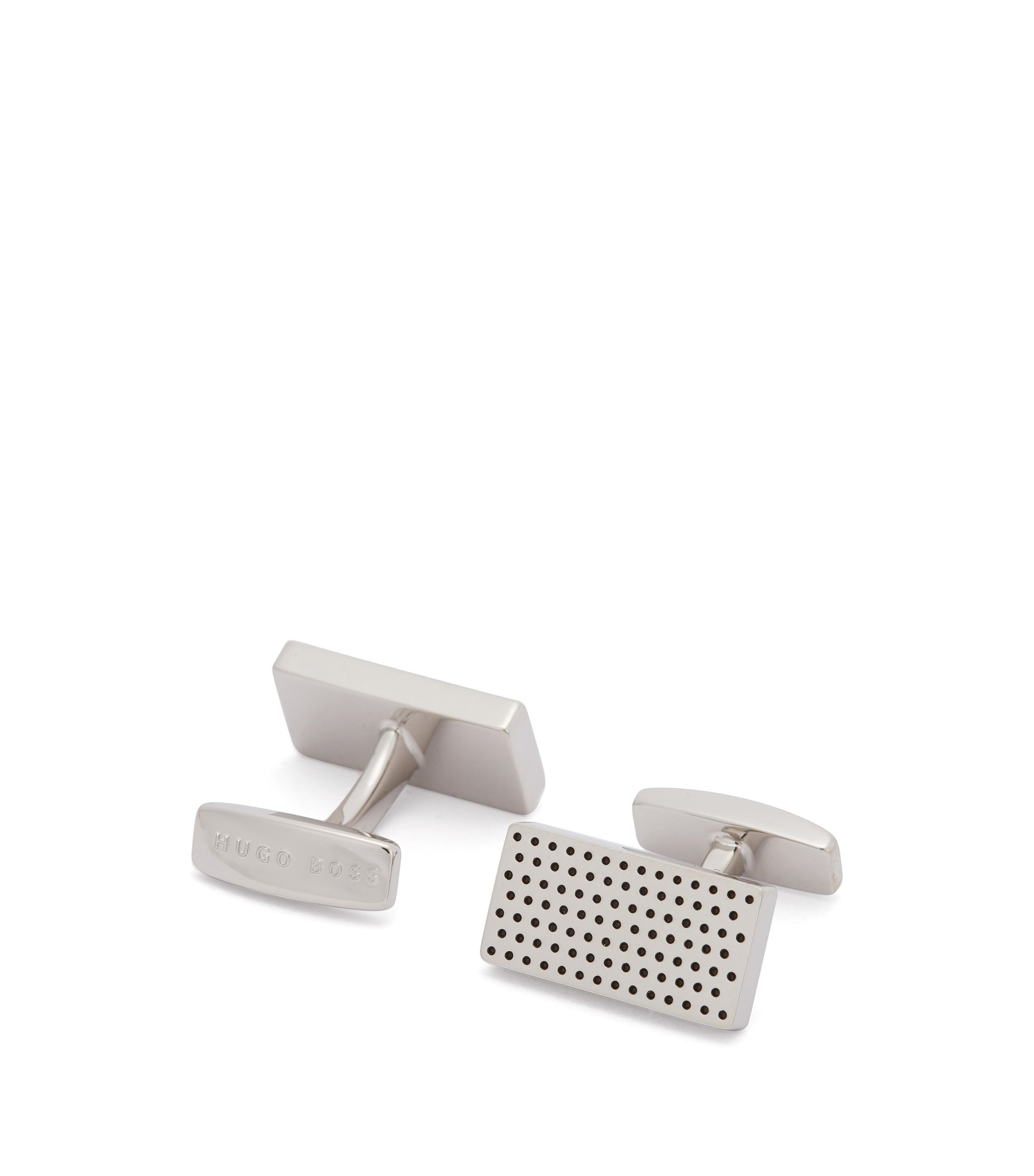 Rectangular cufflinks with enamel-filled dot pattern, Silver