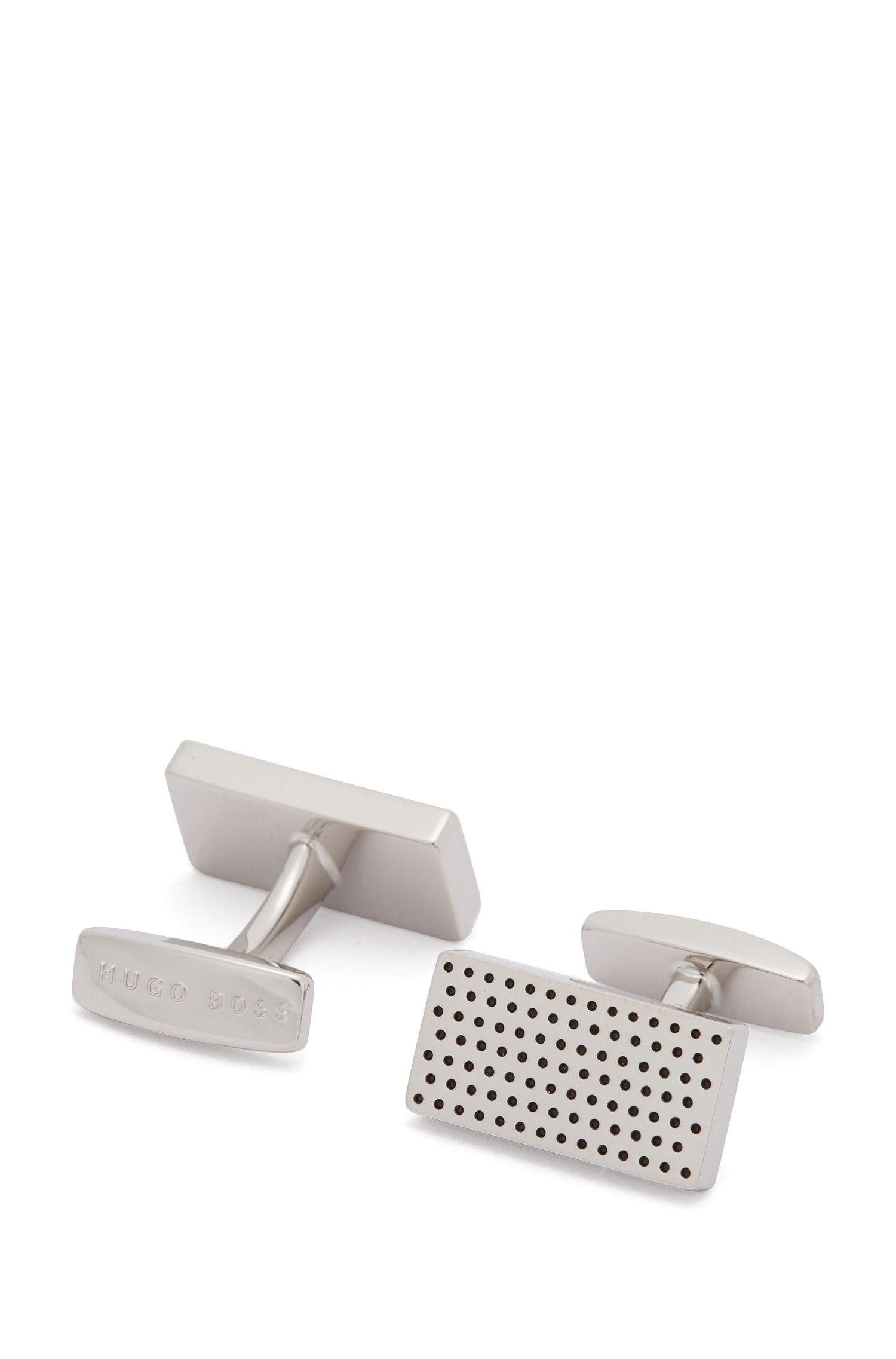 Gemelos rectangulares con patrón de puntos esmaltados
