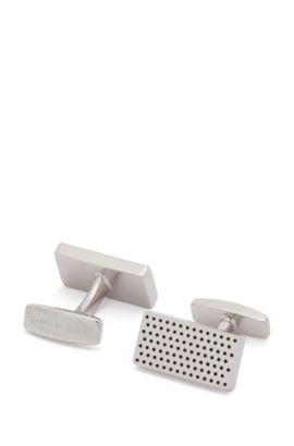 Rechteckige Manschettenknöpfe aus Messing mit Punktemuster aus Emaille, Silber