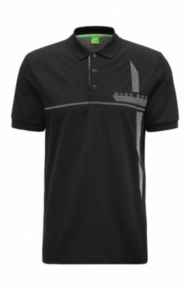 Polo Slim Fit en maille piquée stretch, Noir