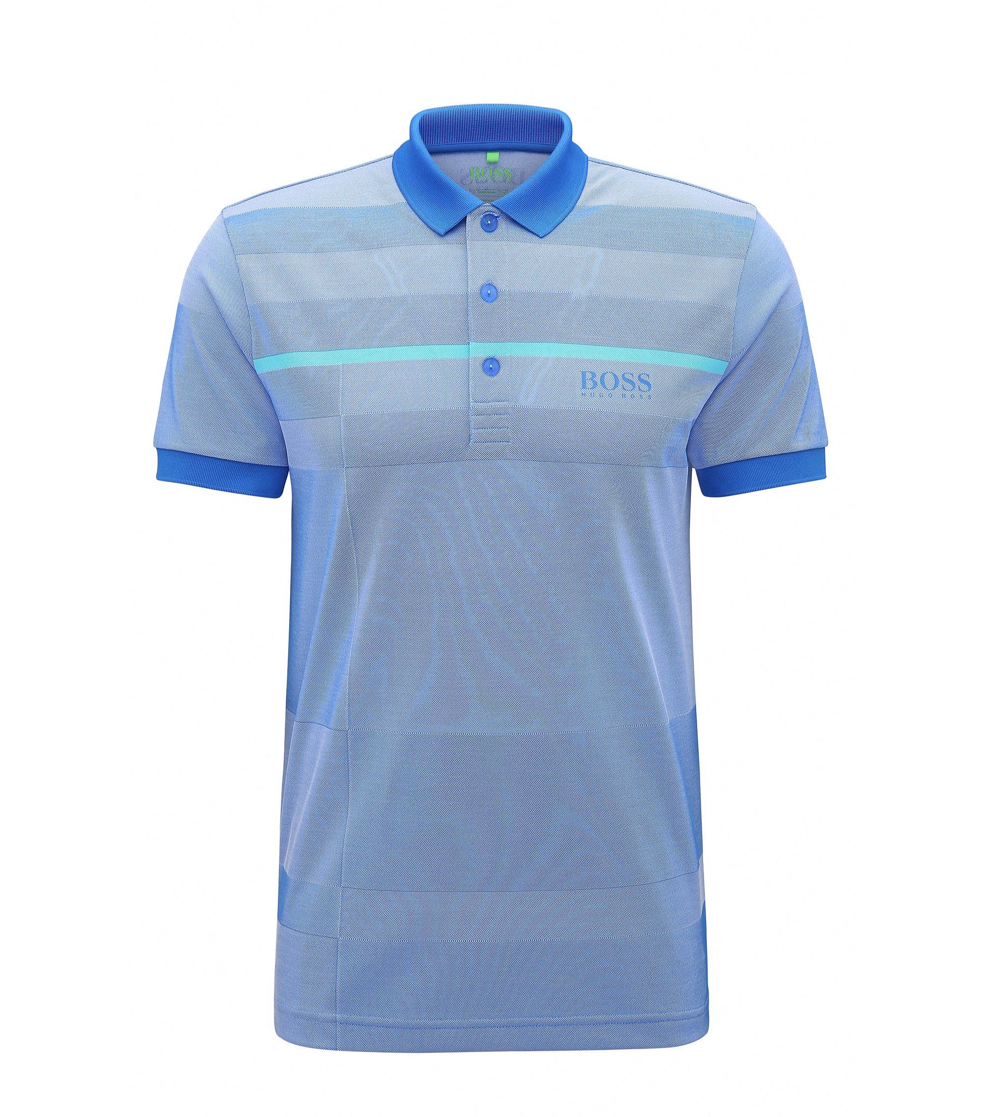 Regular-Fit Poloshirt aus Material-Mix, Blau
