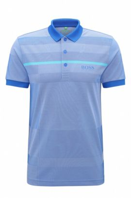 Regular-fit polo shirt in technical fabric, Open Blue