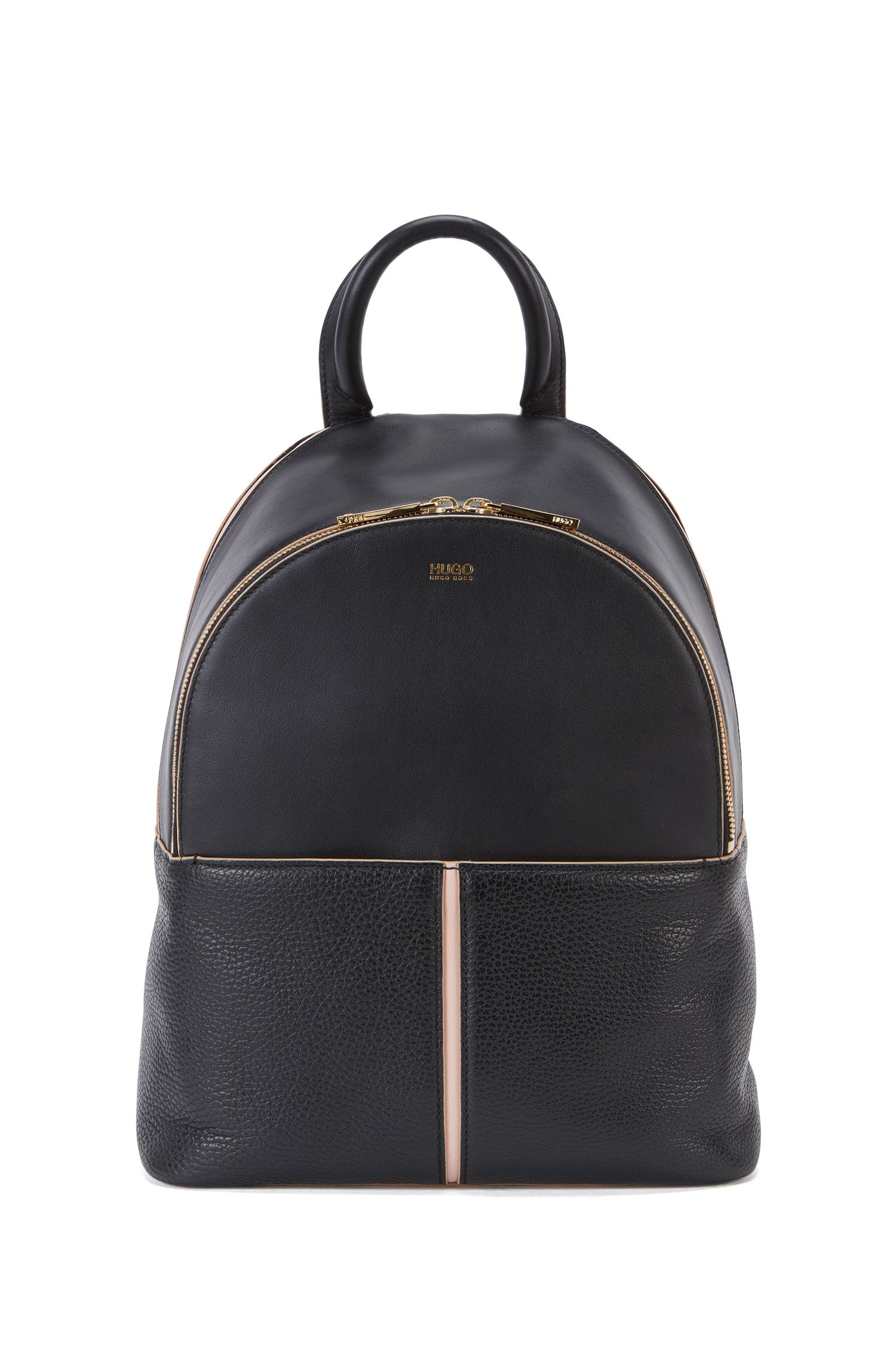 Multi-compartment backpack in contrast leather