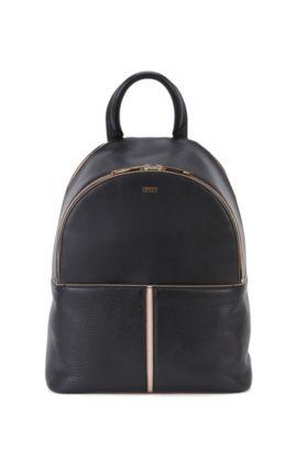 Rucksack mit mehreren Fächern aus kontrastierendem Leder, Schwarz