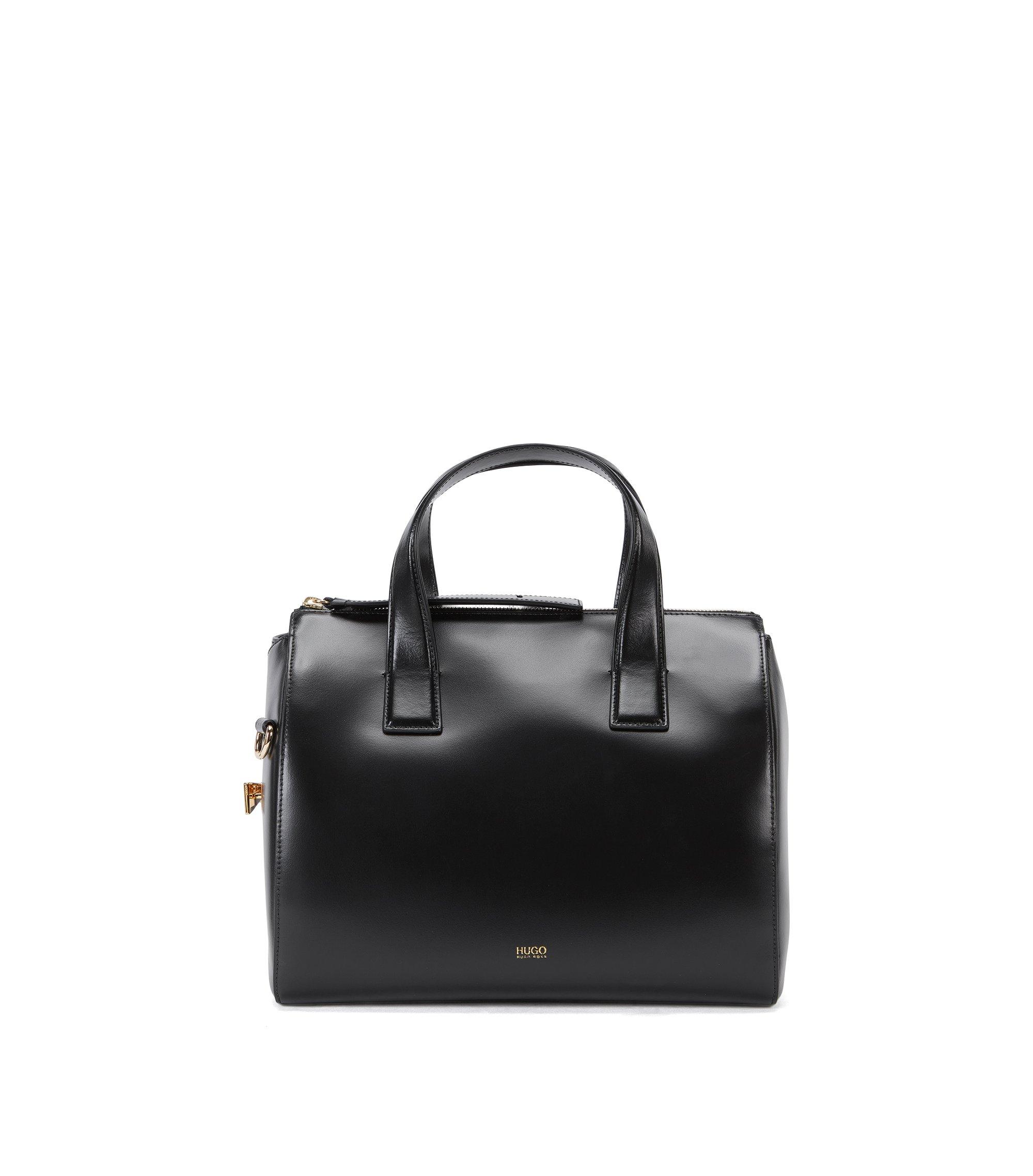 Leder-Handtasche mit Metall-Ornament , Schwarz