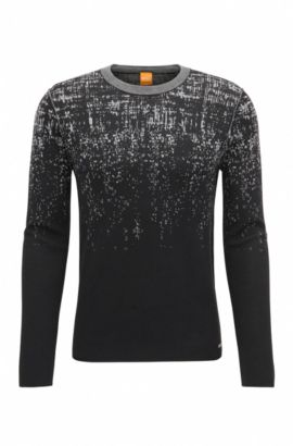 Slim-fit sweater in cotton and silk blend, Black