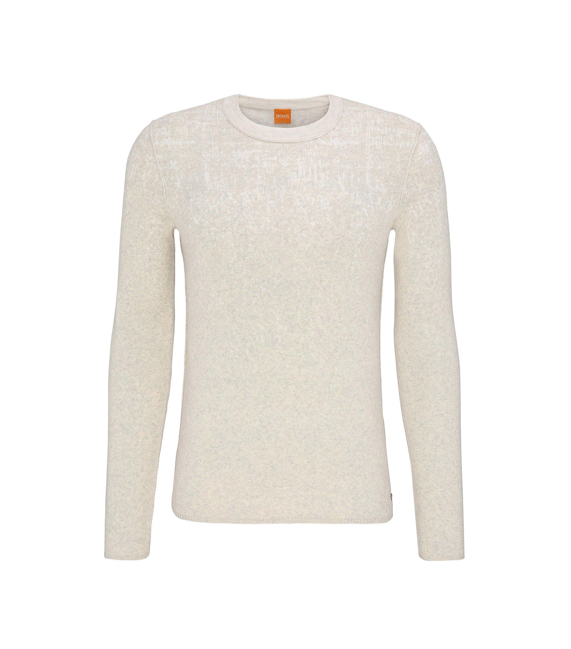 Slim-fit trui van een mix van katoen en zijde, Wit