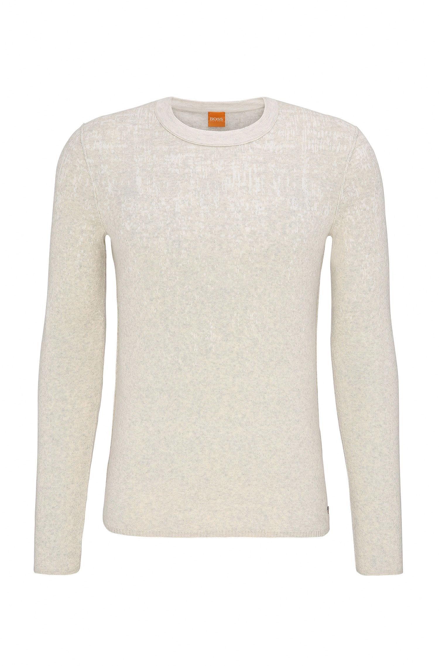 Slim-fit sweater in cotton and silk blend