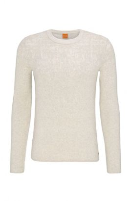 Slim-fit sweater in cotton and silk blend, Open White