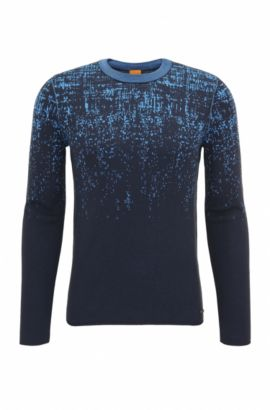 Slim-fit sweater in cotton and silk blend, Dark Blue