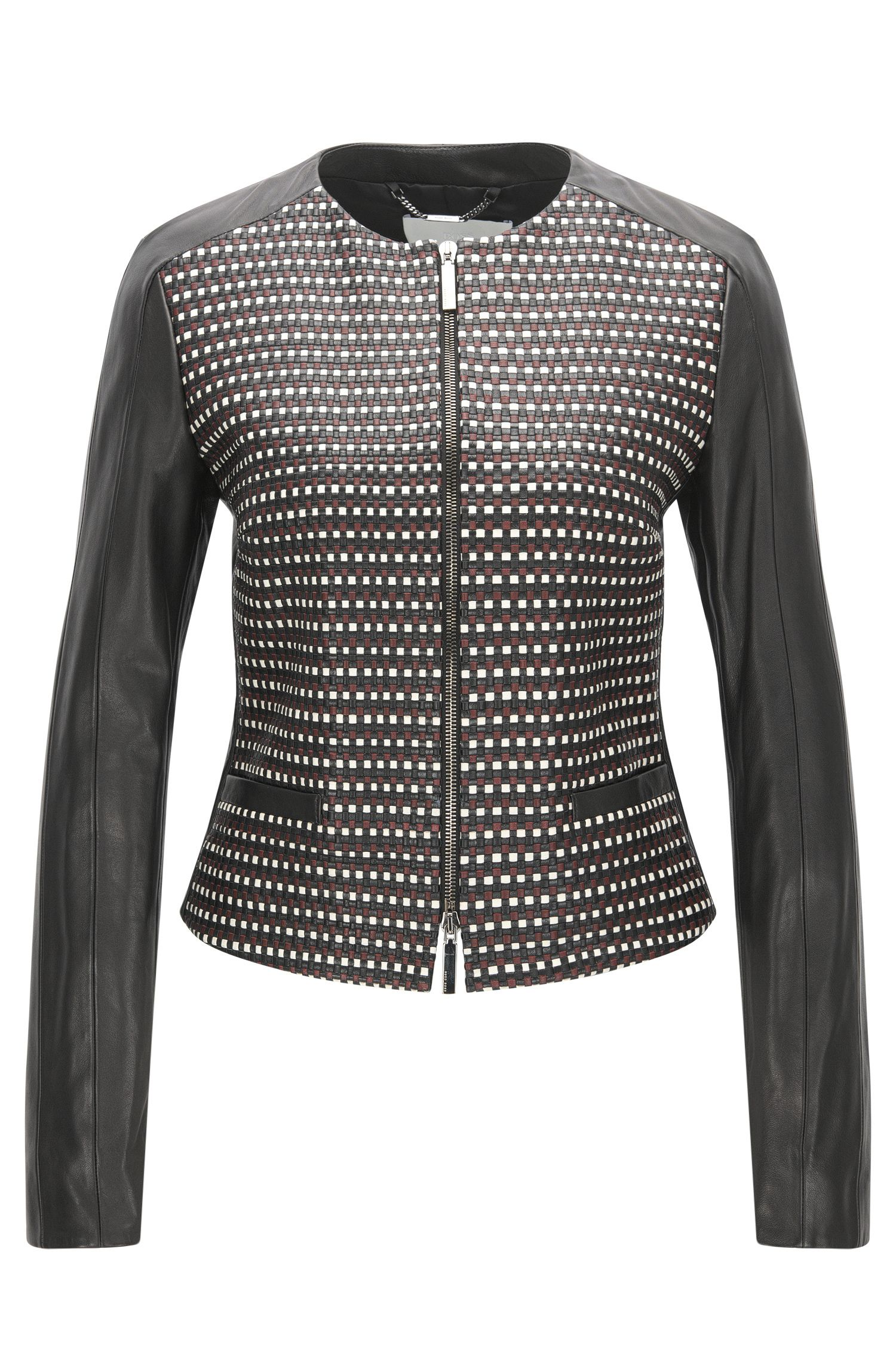 Regular-fit leather jacket with woven panel