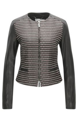 Regular-fit leather jacket with woven panel, Black