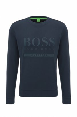 Slim-fit logo sweater in cotton blend, Patterned