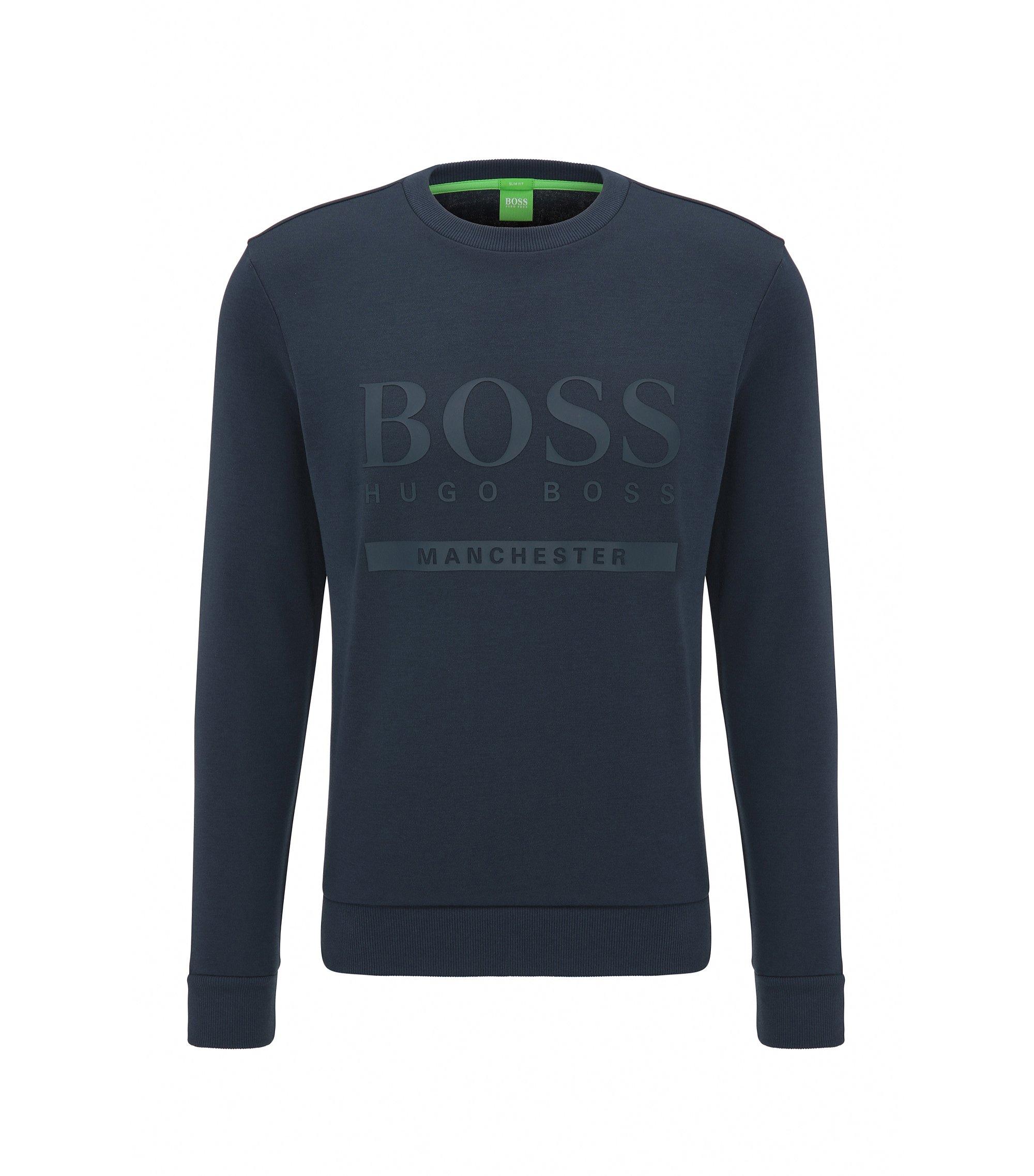 Slim-fit trui van een katoenmix met logo, Bedrukt