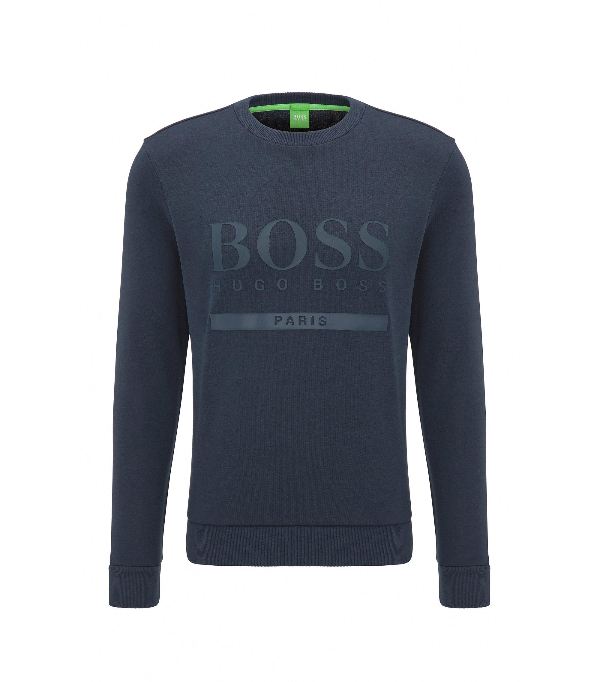 Maglione slim fit con logo in misto cotone, Blu scuro