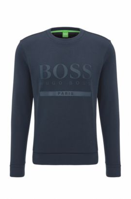 Slim-fit logo sweater in cotton blend, Dark Blue