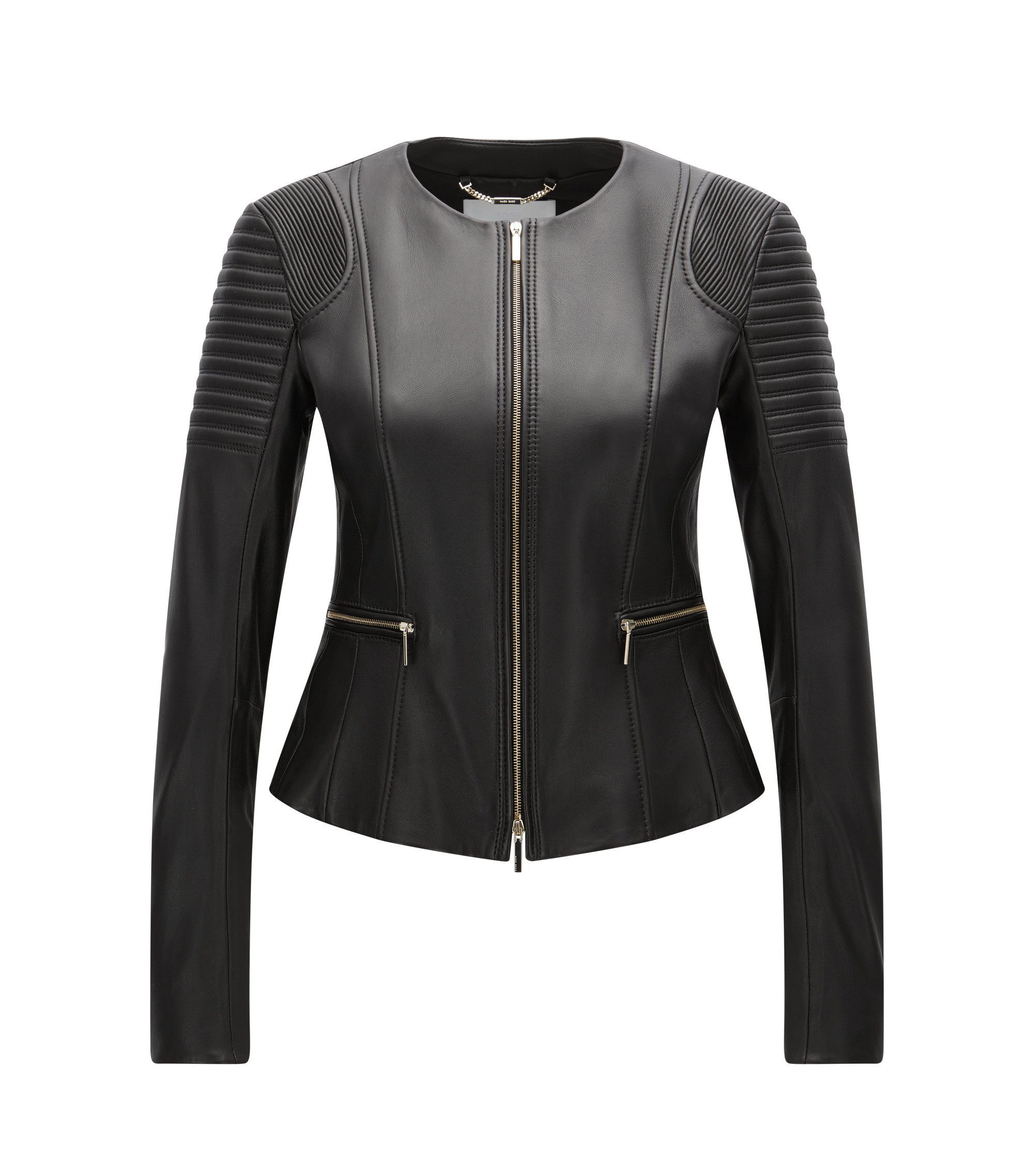 Veste Regular Fit en cuir plongé, Noir