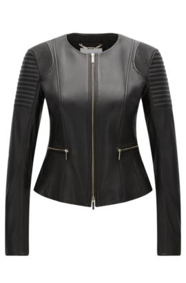 Regular-fit jacket in plongé leather, Black