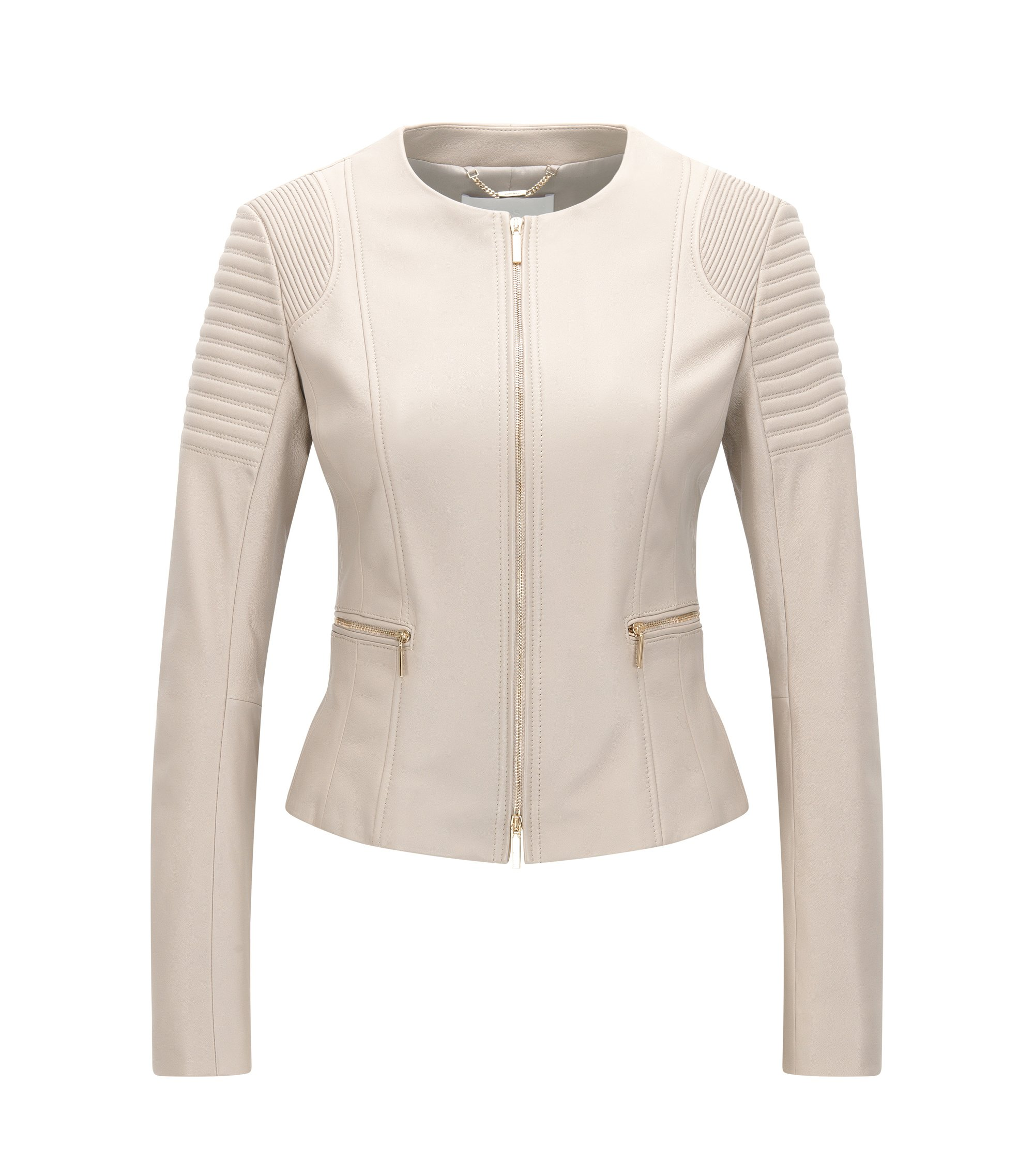 Veste Regular Fit en cuir plongé, Beige