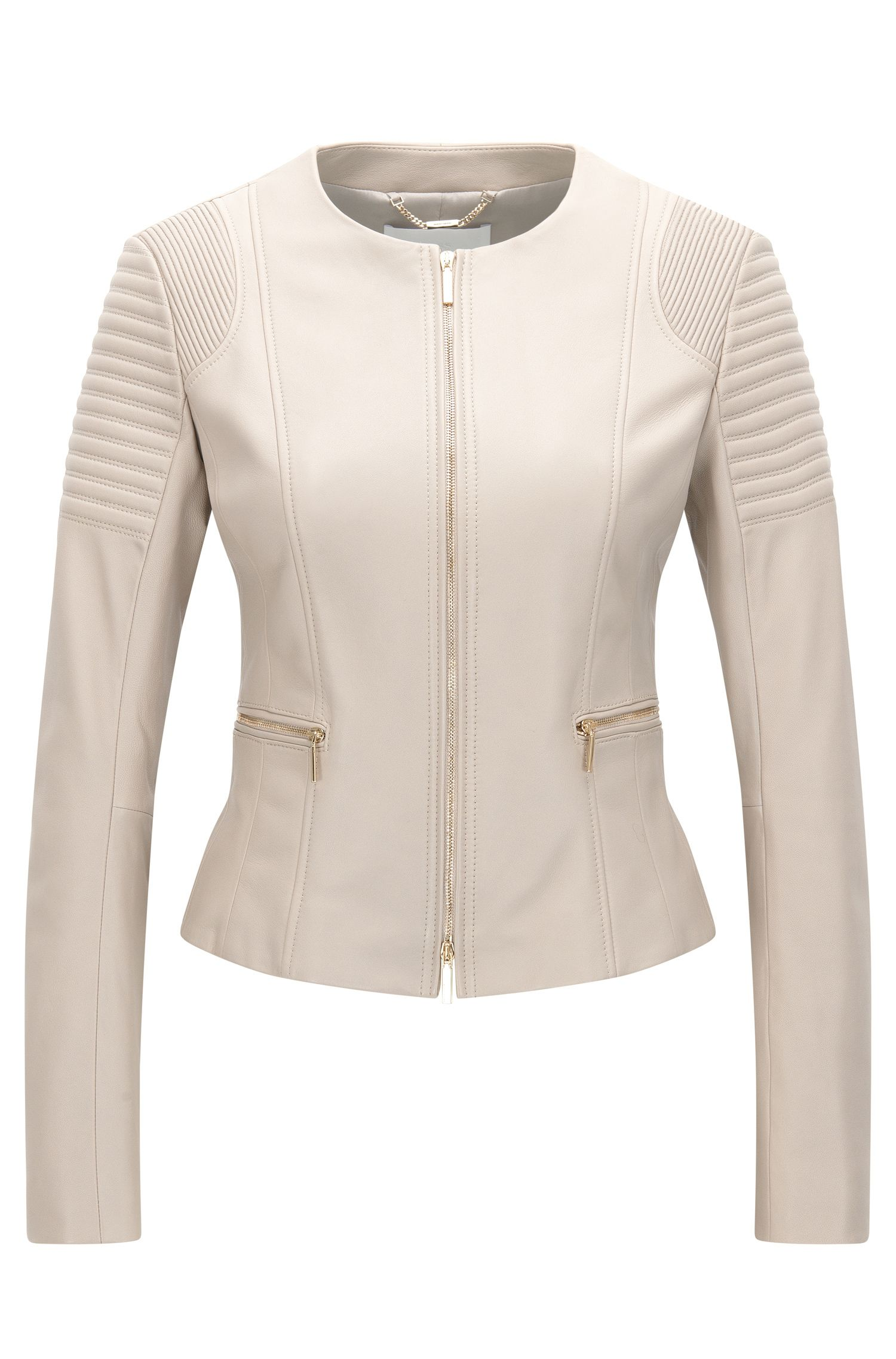 Regular-fit jacket in plongé leather