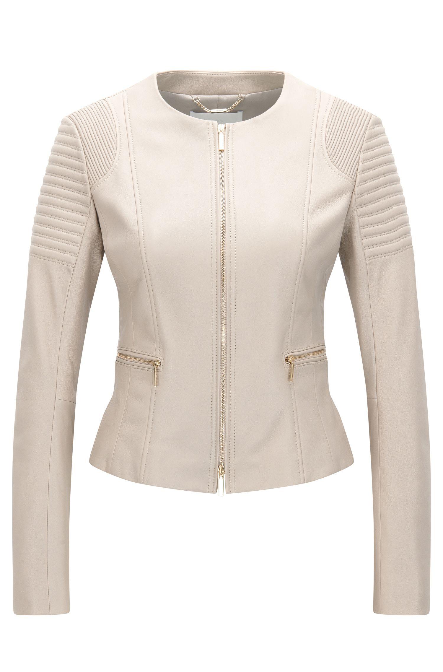 Regular-fit jacket in plongé leather