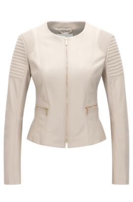Regular-fit jacket in plongé leather, Beige