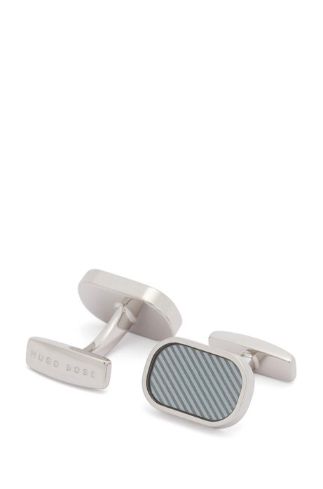 Oblong cufflinks with diagonal stripe pattern, Turquoise