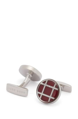 Round cufflinks with steel and enamel mesh detail, Red