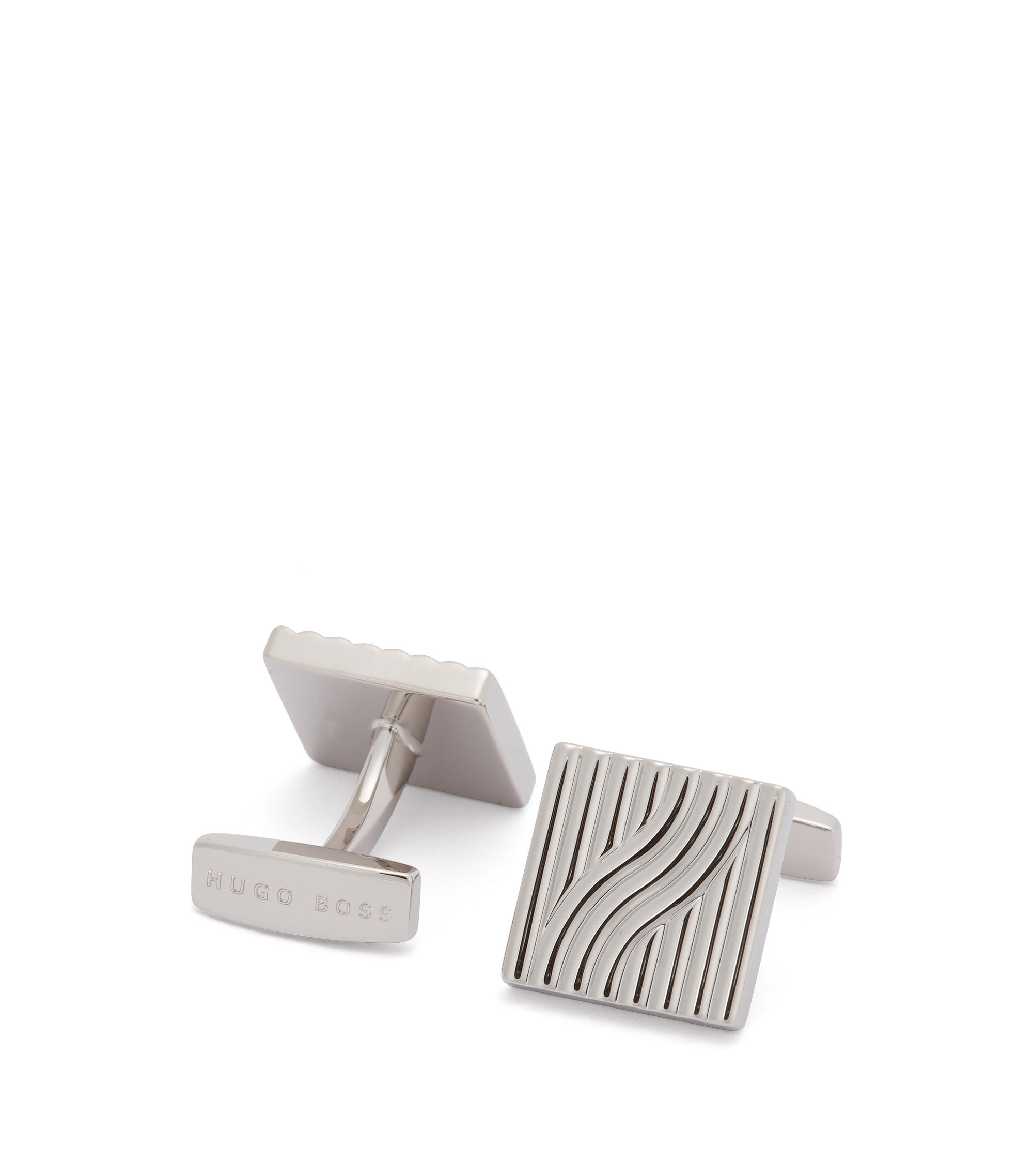 Vierkante manchetknopen met gestempeld 3D-dessin, Zilver