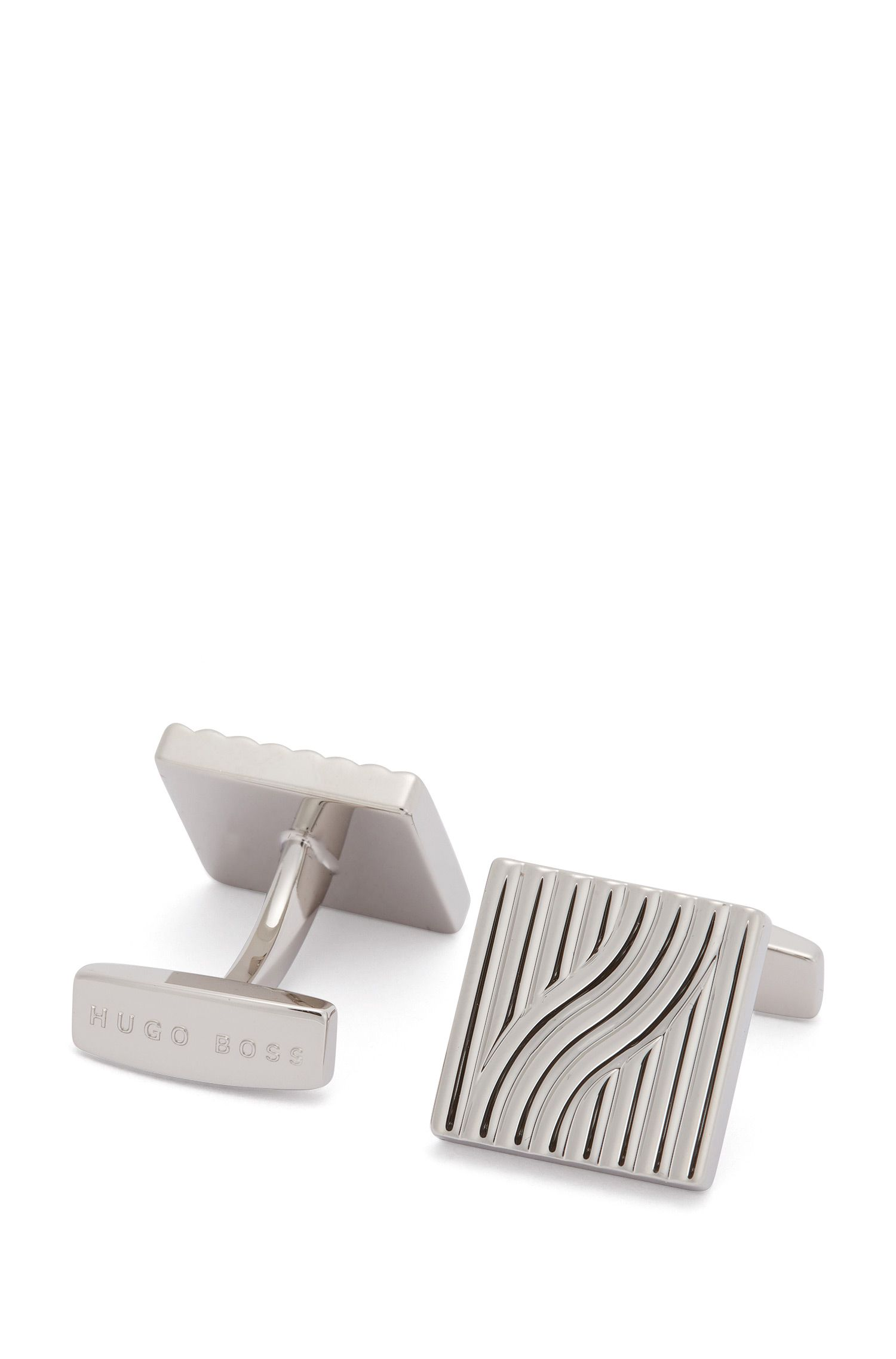 Square cufflinks with stamped 3D pattern